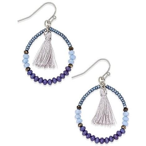 fd9fc88402 INC International Concepts Women's Silver-Tone Blue Bead Tassel Hoop  Earrings - Navy blue