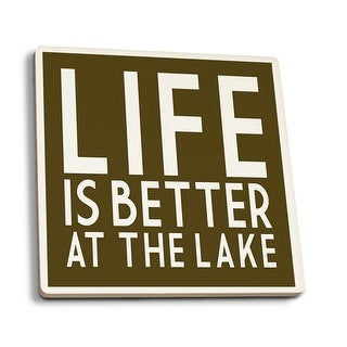 Life Is Better At The Lake Simply Said LP Artwork (Set of 4 Ceramic Coasters)