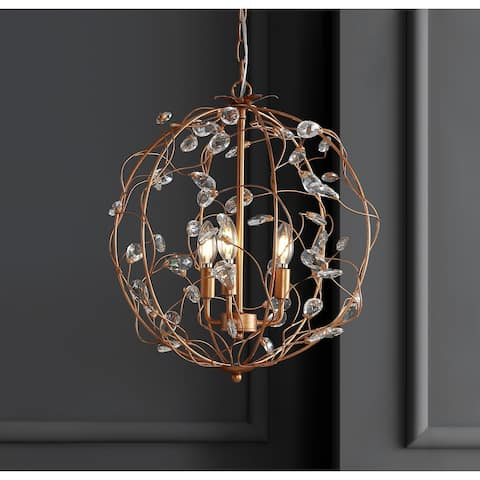 "Isabelle 20"" Adjustable Metal LED Pendant, Antique Gold by JONATHAN Y"