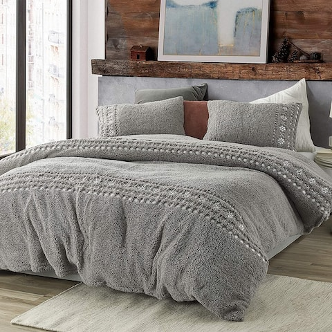 Teddy Stitch - Coma Inducer Oversized Duvet Cover - Gray and White Embroidery