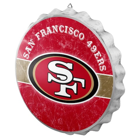 FOCO NFL Distressed Metal Bottle Cap Sign, San Francisco 49ers - Multi-Color