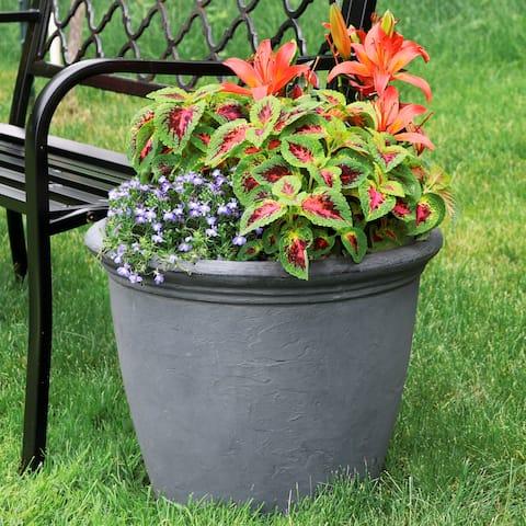 Sunnydaze Anjelica Outdoor Flower Pot Planter - Slate Finish - 20-Inch - Single