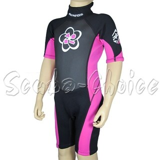 Maui & Sons 3/2 mm Girl's Neoprene Short Sleeve Surfing Suit Black/Pink