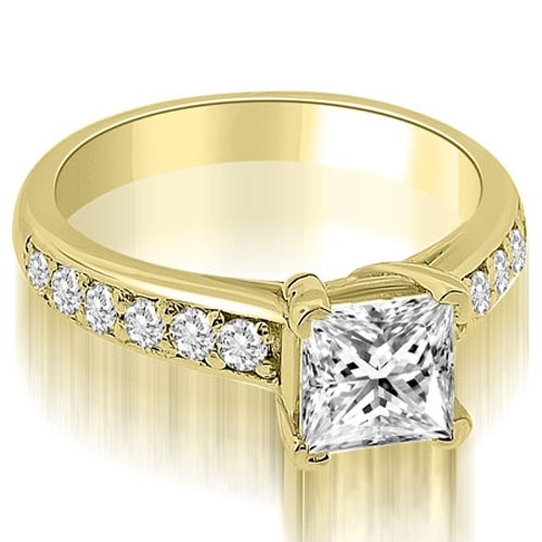 1.05 cttw. 14K Yellow Gold Cathedral Princess Cut Diamond Engagement Ring