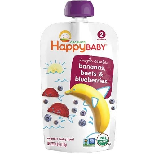 Happy Family - Stage 2 Baby Food Organic Banana Beets & Blueberry ( 16 - 3.5 OZ)