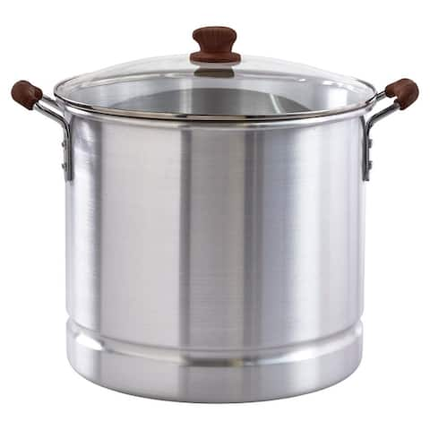 IMUSA Steamer with Glass Lid & Wood-Look Handles