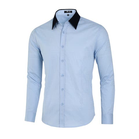 Men Casual Button Down Shirts Long Sleeve Fashion Slim Fit Dress Shirt - Light Blue