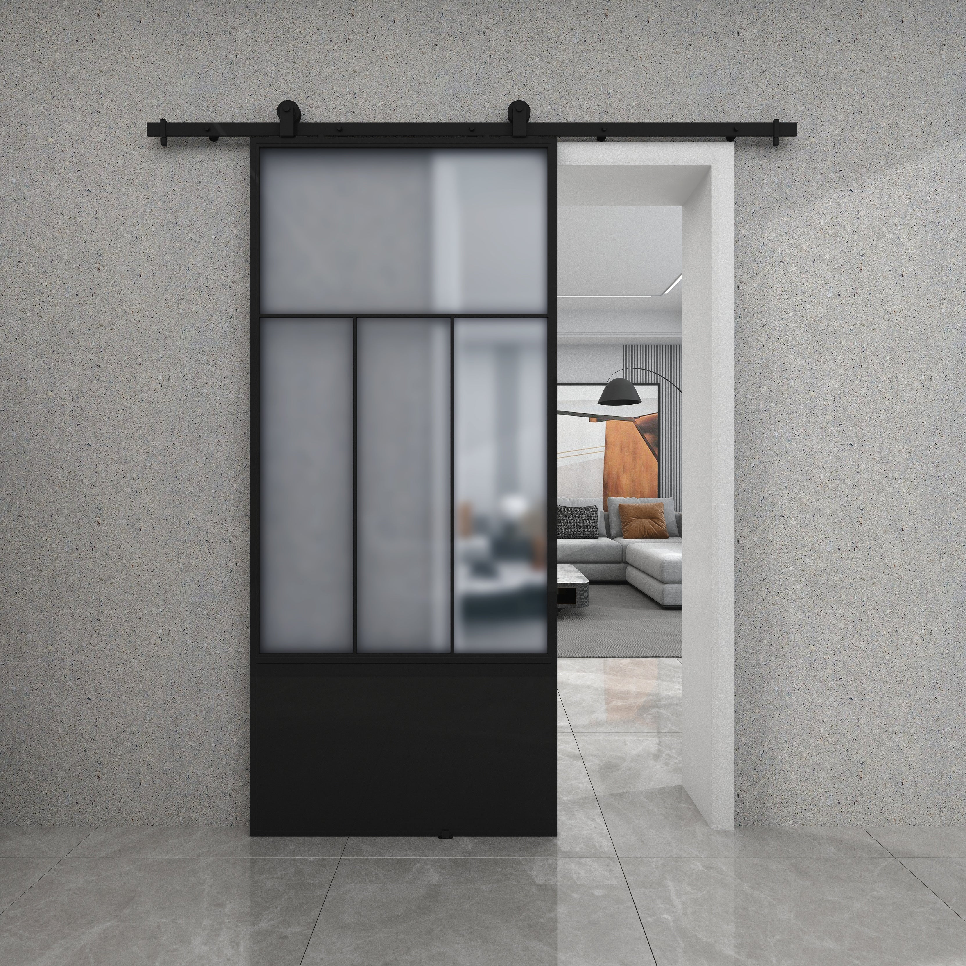 Division Frosted Glass Metal Barn Door With Installation Hardware Kit On Sale Overstock 31927399