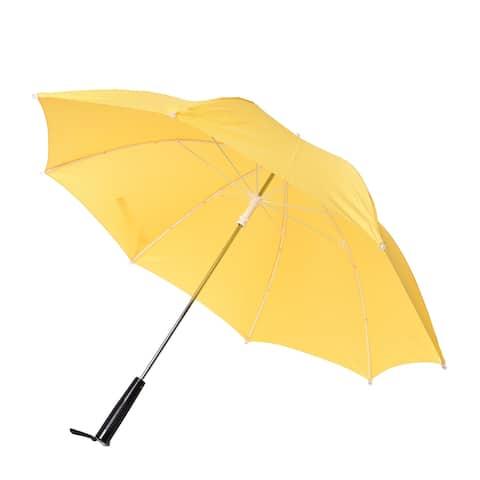 Yellow Black Windproof Folding Sun Open Close LED Straight Umbrella - 41.34 Inches