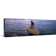 Premium Thick-Wrap Canvas entitled Little Mermaid Statue on Waterfront Copenhagen Denmark