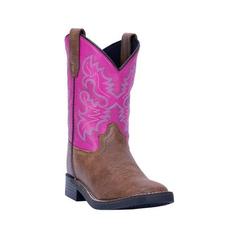 "Dan Post Western Boots Girls Punky Square Toe 8"" Brown"