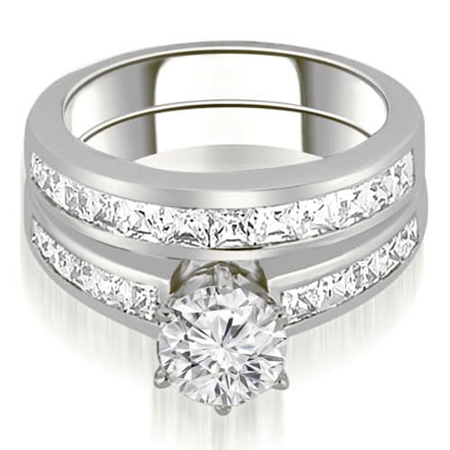 2.05 cttw. 14K White Gold Channel Set Princess Cut Diamond Bridal Set - White H-I