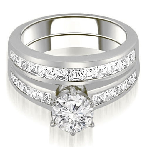 2.30 cttw. 14K White Gold Channel Set Princess Cut Diamond Bridal Set
