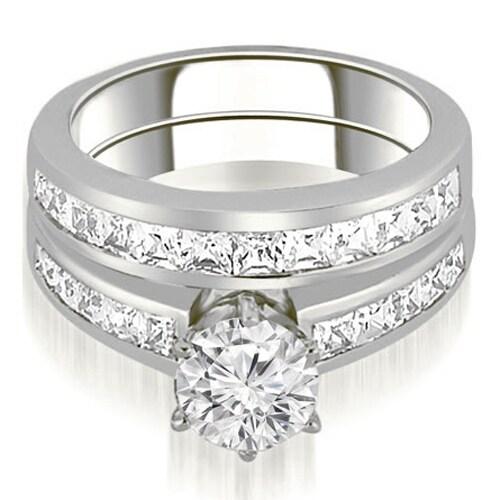 2.55 cttw. 14K White Gold Channel Set Princess Cut Diamond Bridal Set