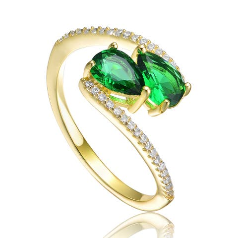 Collette Z Sterling Silver 14K Gold Plated and Emerald Cubic Zirconia Bypass Ring