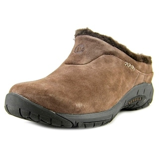 Merrell Encore Ice Women Round Toe Suede Brown Mules