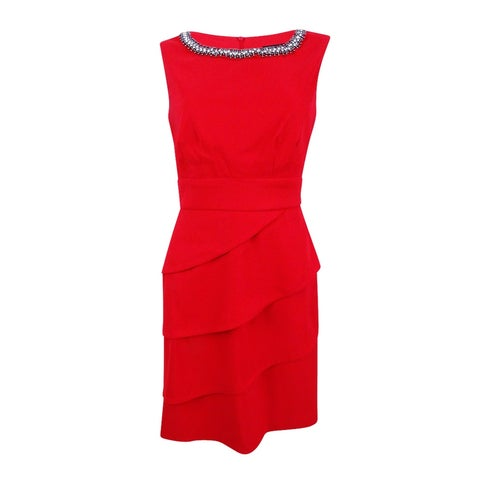 Connected Women's Embellished Tiered Sheath Dress