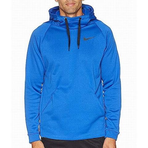 Nike Mens Sweater Blue Size Medium M Hooded Fleece Thermal Training