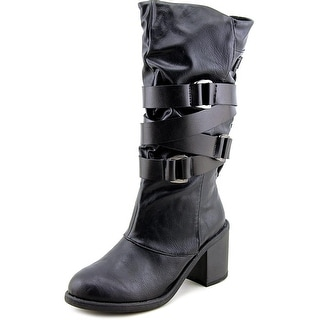 Blowfish Momento Women Round Toe Synthetic Black Mid Calf Boot