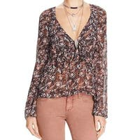 Free People NEW Orange Womens Size XS Uptown Bell Sleeve V-Neck Top