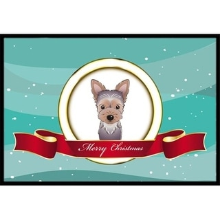 Carolines Treasures BB1542MAT Yorkie Puppy Merry Christmas Indoor & Outdoor Mat 18 x 27 in.