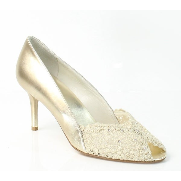 Stuart Weitzman NEW Gold Chantelle 11N Open Toe Leather Heels