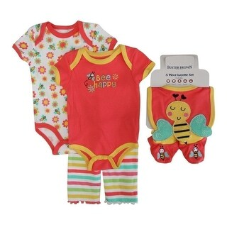 Buster Brown Brown Girls Coral Bodysuits Pant Bootie Bib 5 Pc Layette Set