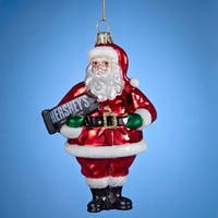 "5"" Glass Glittered Santa with Hershey's Bar Christmas Ornament - RED"