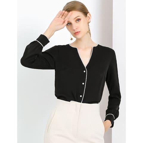 Women's Contrast Trim V Neck Elegant Blouse Top