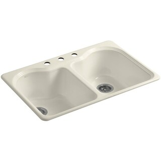 "Kohler K-5818-3 Hartland 33"" Double Basin Top-Mount Enameled Cast-Iron Kitchen Sink"