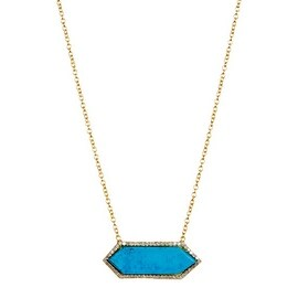 Gold Vermeil Genuine Diamond & Turquoise Necklace