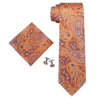 TheDapperTie Men's Orange & Blue Paisley 3.25 Inch 100% Silk Neck Tie Set 1890T