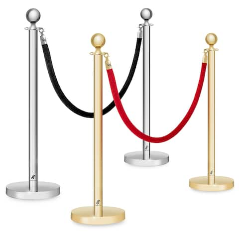 Set of 2- Stanchions Ball Posts & 6-1/2 Foot Velvet Rope- Jubilee