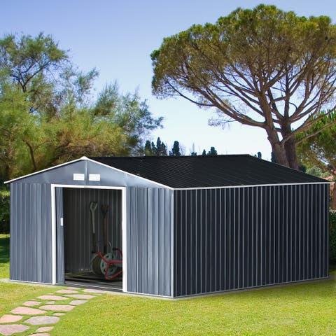 Outsunny 11' x 9' Metal Garden Shed Utility Tool Storage Dark Grey