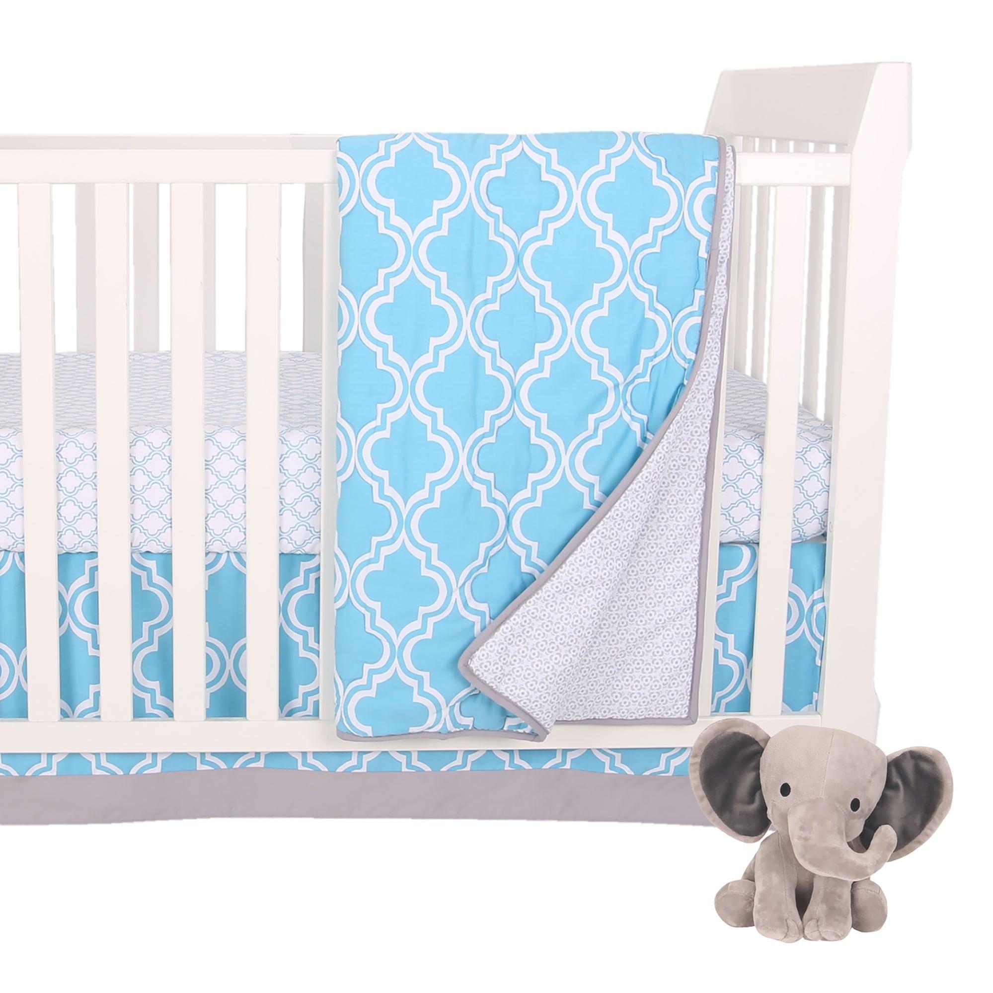 Shop Lambs Ivy Ryan Blue Gray Modern 4 Piece Baby Crib Bedding Set Overstock 28362940