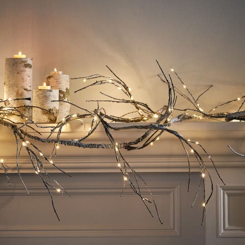 Michaelson 18-foot Pre-Lit Warm White LED Christmas Garland - Snowy