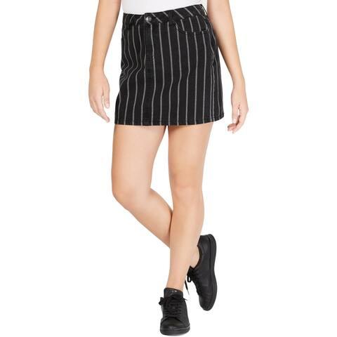 Vanilla Star Womens Juniors Mini Skirt Denim Pinstriped - Black/White - 5