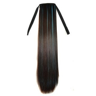 Lace-up Colorful Highlights Wig Horsetail brown sky blue 2M33HBLUE3#