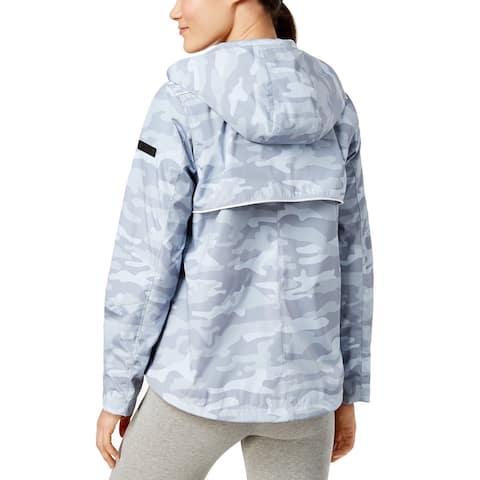 Calvin Klein Performance New Spectator Printed Asymmetrical-Zip Hooded Jacket L - gray camo
