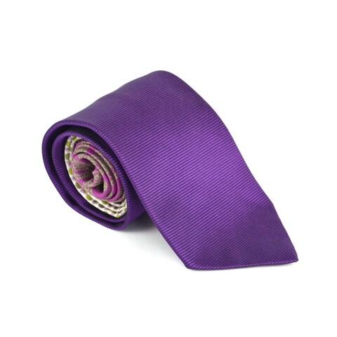 Etro Mens Purple 100% Silk Floral Print 3.25 In Standard Tie