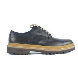Lo.White Mens Brown Leather Stitched Rubber Inset Lace Up Derbys