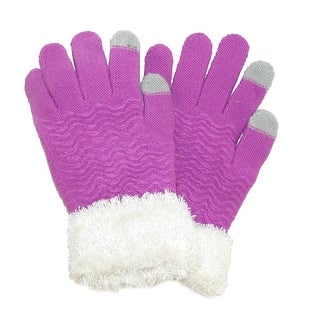 CTM® Women's Chenille with Eyelash Cuff Touch Screen Glove