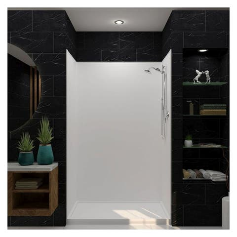"""Transolid Studio 30-in x 60-in x 75-in Right-Hand Alcove Shower Kit - 60"""" x 30"""" x 96"""" - 60"""" x 30"""" x 96"""""""