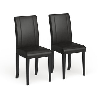 Link to Urban-Style Solid Wood Leatherette Small Padded Parson Chairs (Set of 2) Similar Items in Dining Room & Bar Furniture