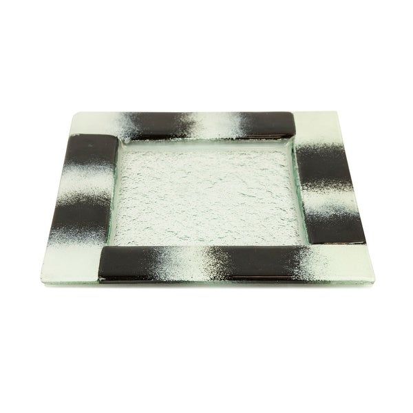 Turgla Glass Dinnerware Square Appetizer Plate, Black and White