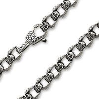 "Casted Skull Linked Stainless Steel Chain Necklace (13.5mm) - 23"" (Sold Ind.)"