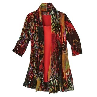 Women's Fashion Jacket and Tank Top Set - Fire Red Animal Print