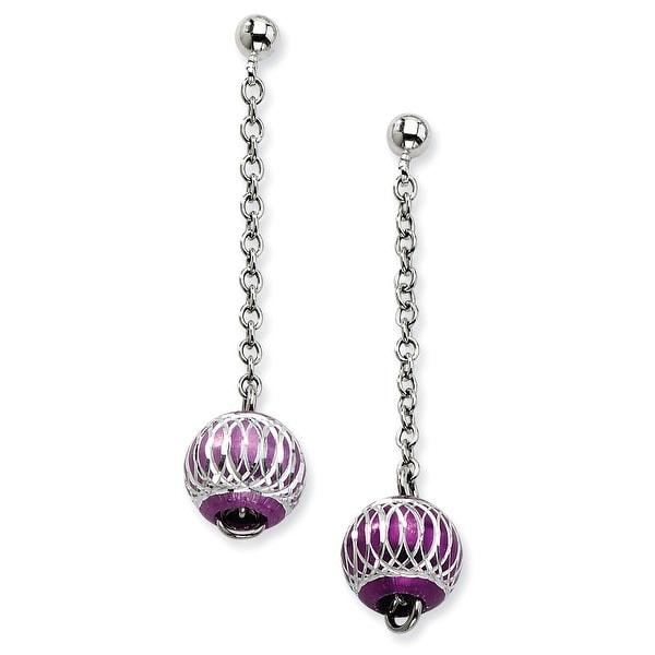 Chisel Stainless Steel Purple Diamond Cut Beads Post Dangle Earrings