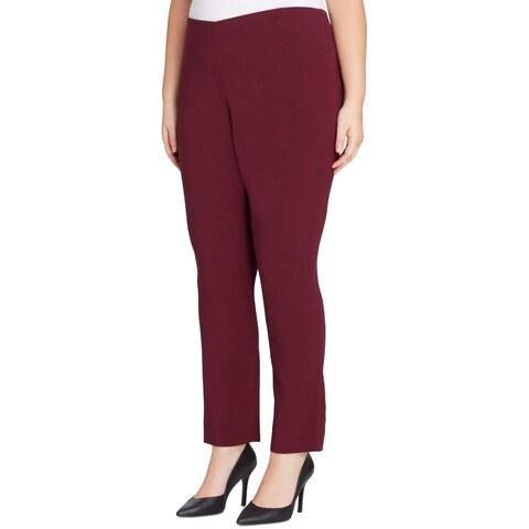 Tahari Red Women's Size 18W Plus Ponte Knit Dress Pants Stretch