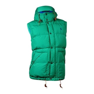 Polo Ralph Lauren Men's Hooded Elmwood Down Vest (L, Green)